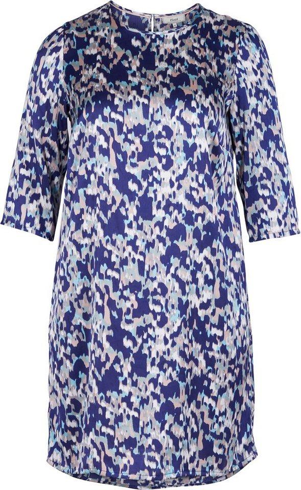 Zizzi Kleid in Canal Blue print as ss