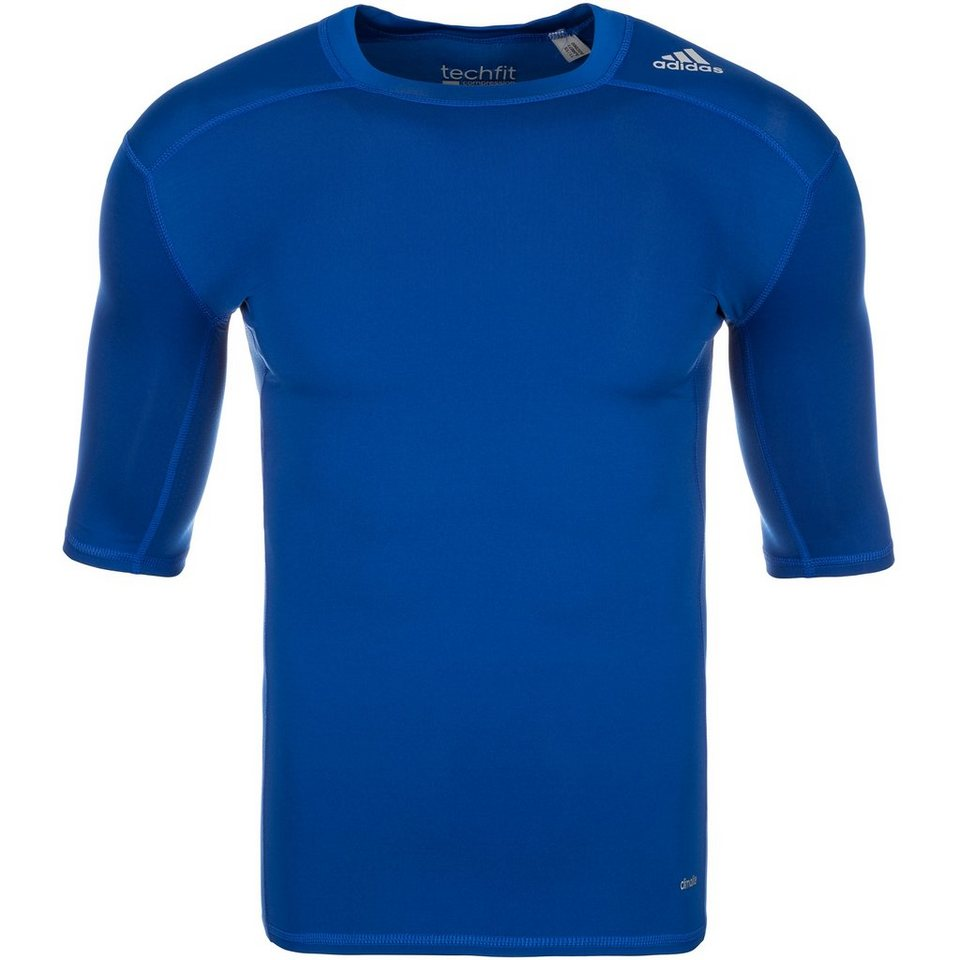 adidas Performance TechFit Base Trainingsshirt Herren in blau / grau