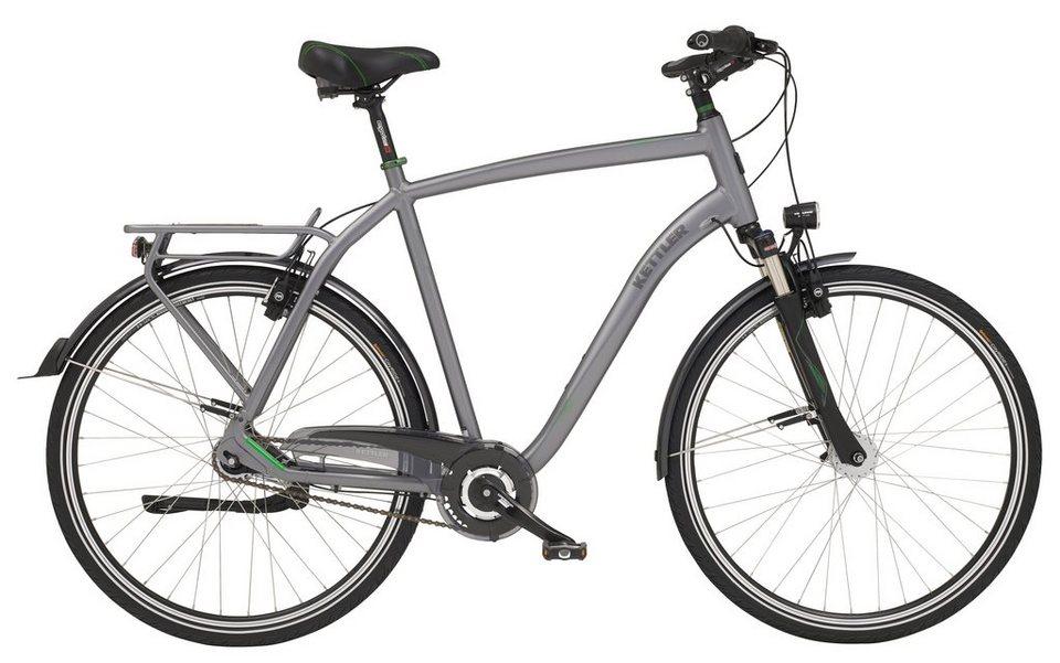 Kettler City Bike Herren, 28 Z., 7 Gg-Shimano Nabenschalt., hydr. Felgenbrem., Rücktritt, »City H in frosted steel, glossy
