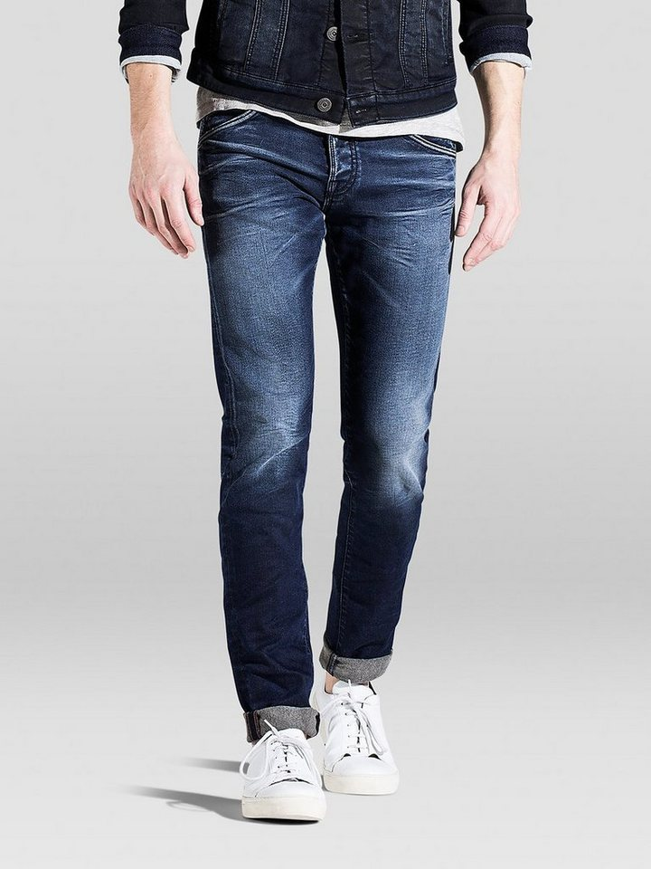 Jack & Jones Glen JJFOX bl 624 Indigo Strick Slim Fit Jeans in Blue Denim