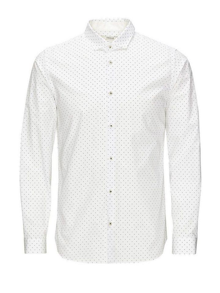 Jack & Jones Klassisches Punktmuster- Businesshemd in White