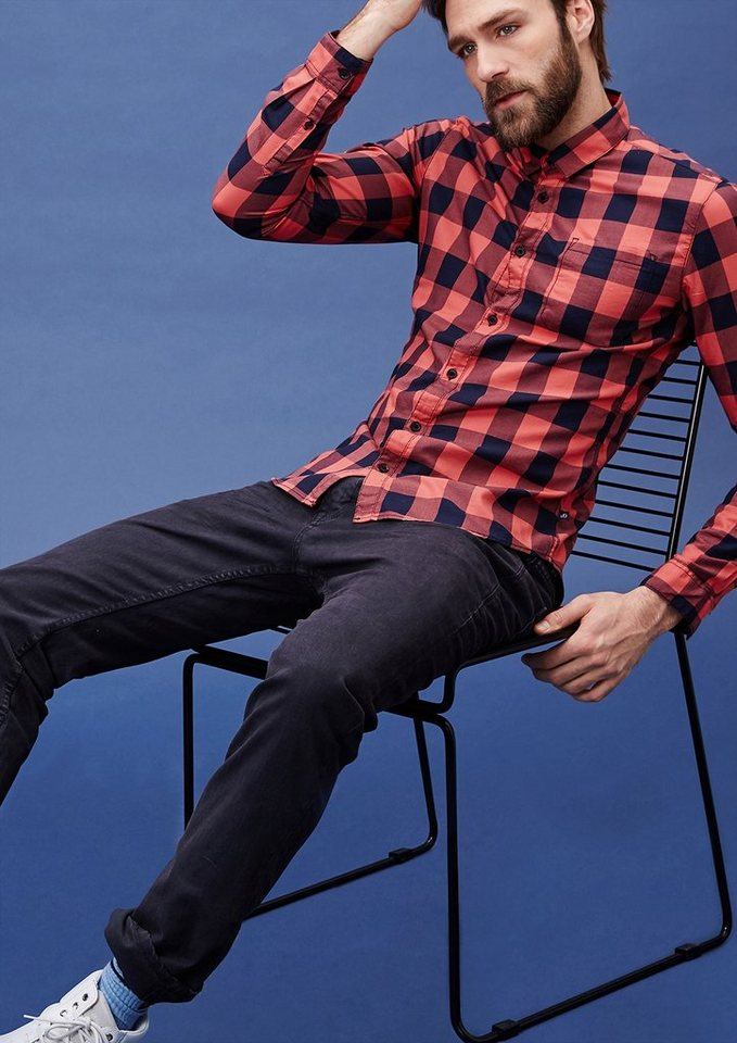 s.Oliver Denim Extra Slim: Hemd mit Karos in light rose check