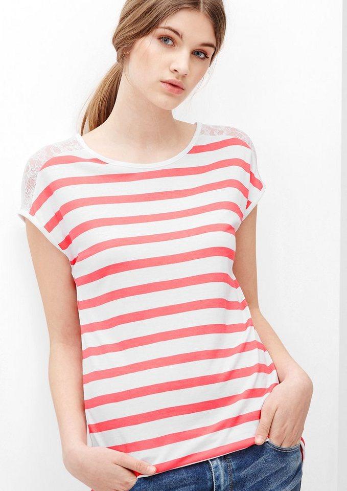 s.Oliver Denim Gestreiftes Shirt mit Spitzen-Passe in foxy stripes