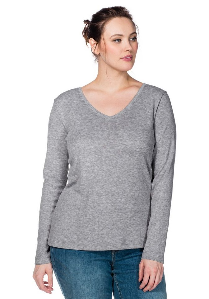 sheego Casual BASIC Langarmshirt mit V-Ausschnitt in grau melange