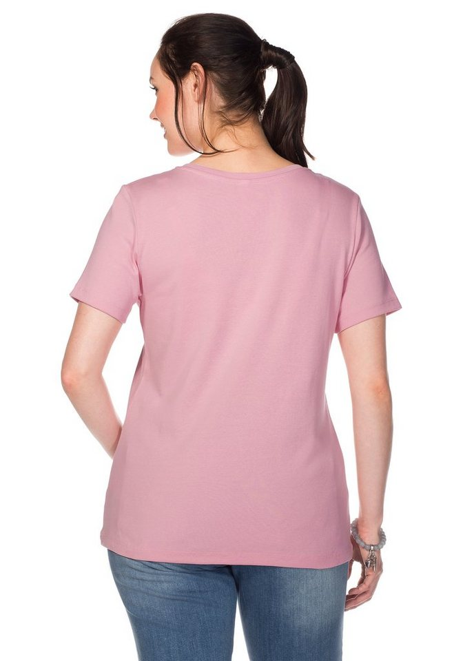sheego Casual BASIC T-Shirt mit V-Ausschnitt in rose