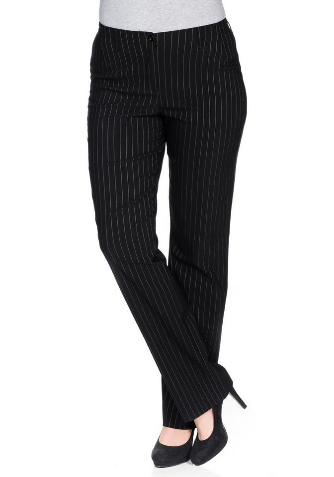 sheego Casual BASIC Gerade Bengalin-Stretch-Hose in schwarz gestreift