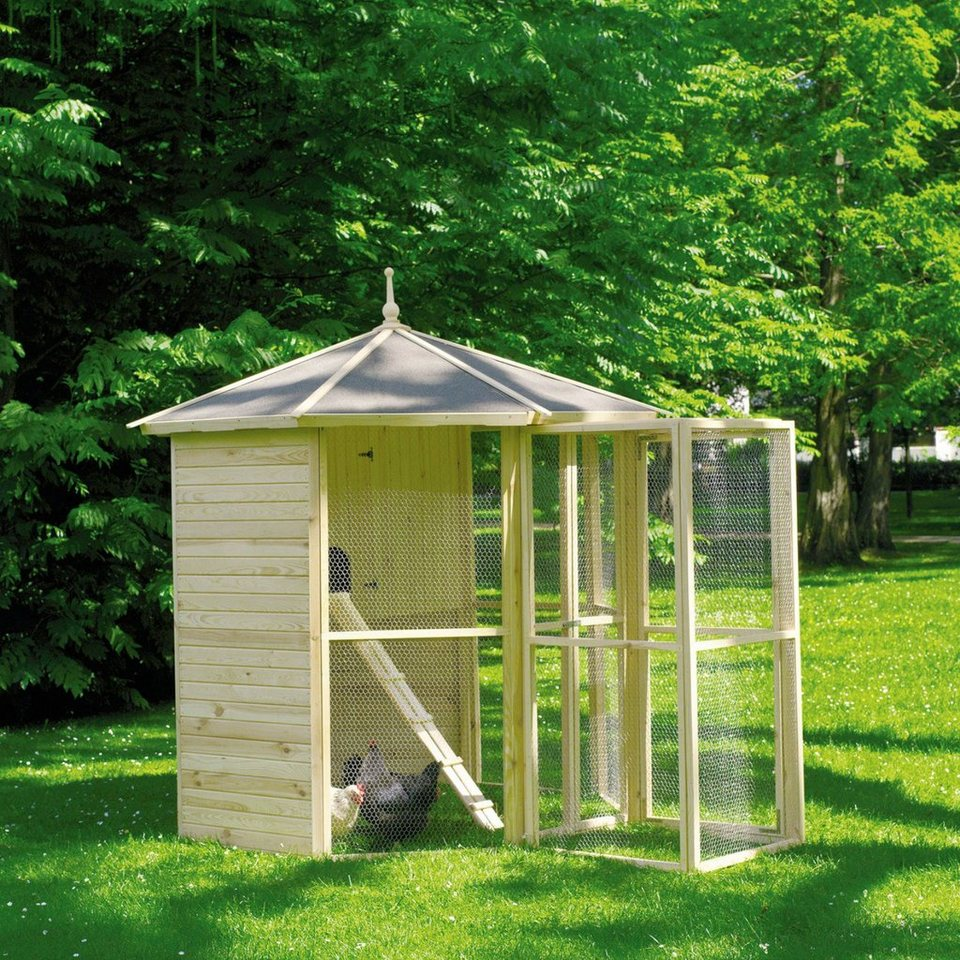 8-eck Voliere mit Hühnerhaus + Eingangsschleuse (B/T/H: 308,5/232/250 cm) in natur