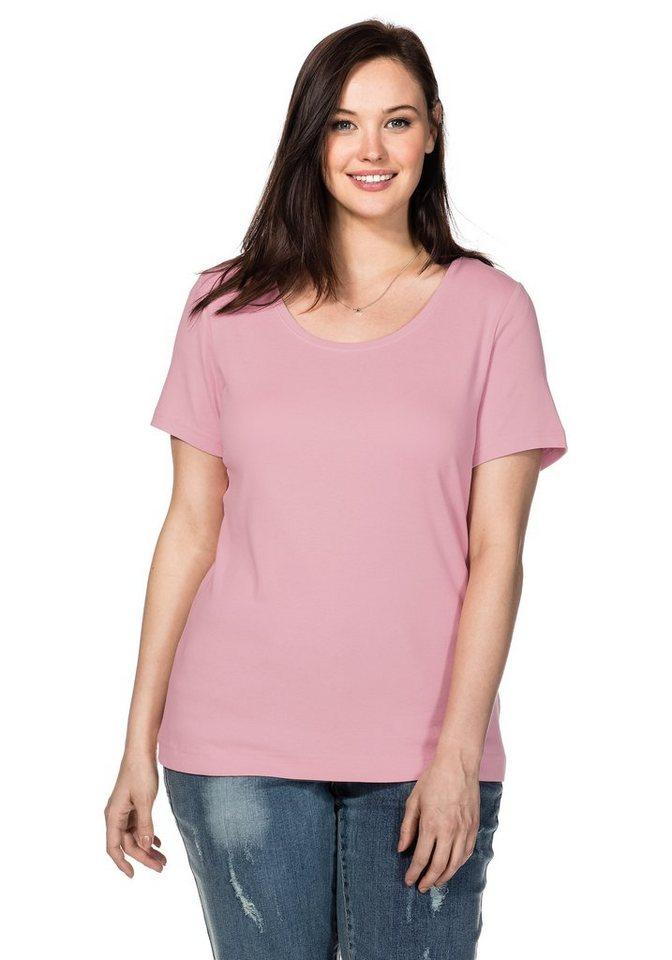 sheego Casual BASIC Shirt Rundhalsausschnitt in rose
