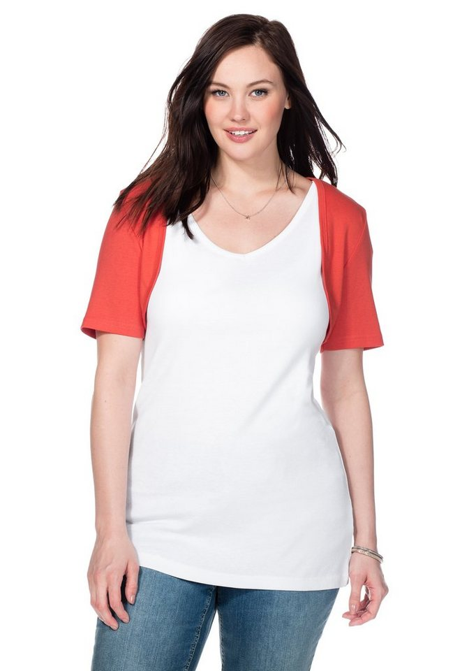 sheego Casual BASIC Bolero mit kurzem Arm in korallrot