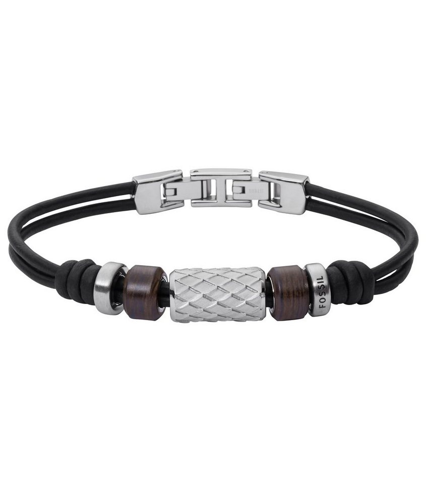 Fossil Armband, »JF02208040« in schwarz-silberfarben