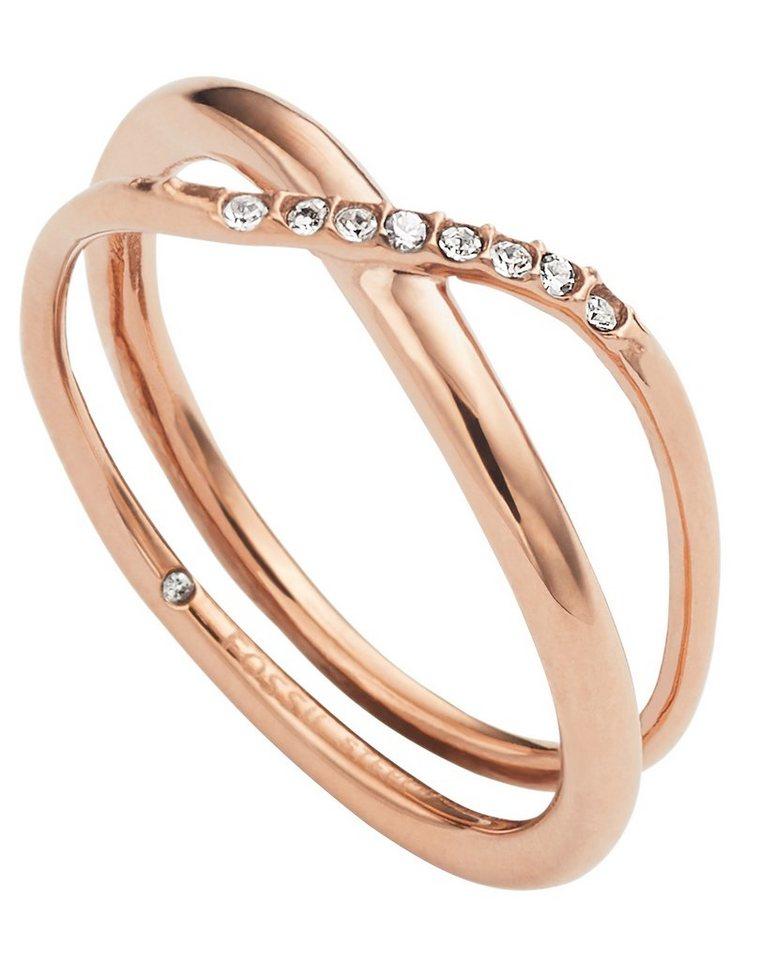 Fossil Ring mit Glassteinen, »JF02255791« in roségoldfarben