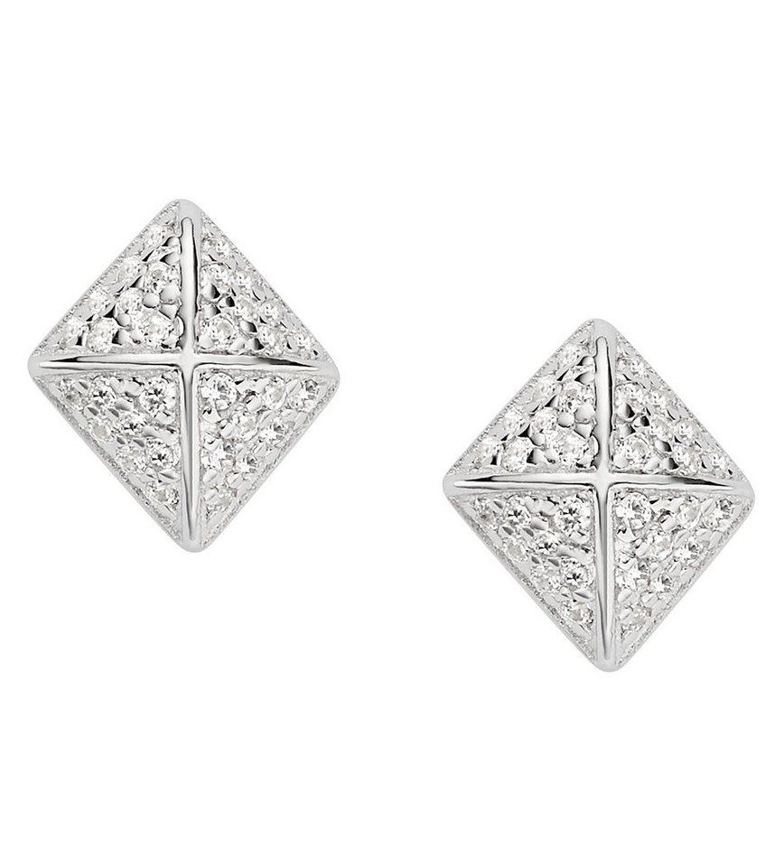 Fossil Paar Ohrstecker mit Zirkonia, »JFS00374040« in Silber 925
