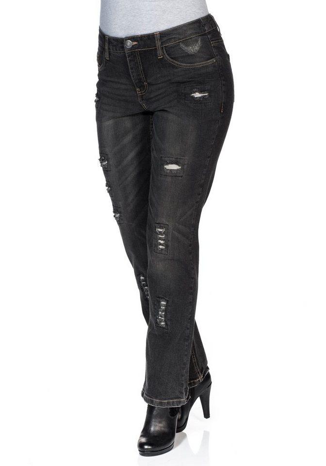 sheego Denim Gerade Stretch-Jeans Lana in black used Denim