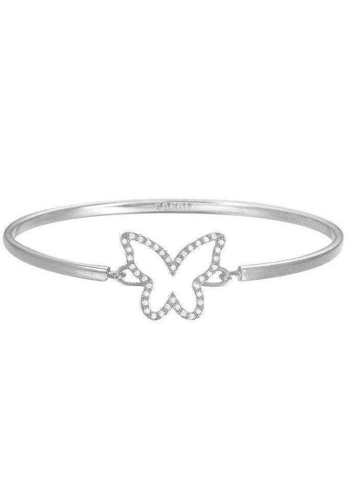 Esprit Armreif mit Strasssteinen, »Schmetterling, ESPRIT-JW50219, ESBA01179A600« in silberfarben