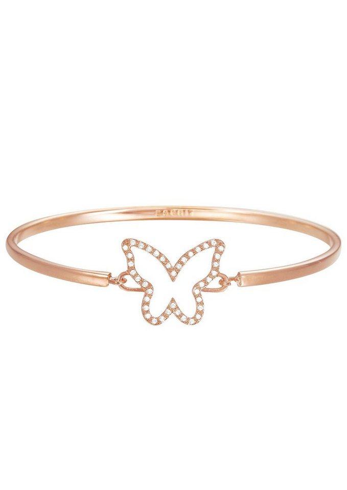 Esprit Armreif mit Strasssteinen, »Schmetterling, ESPRIT-JW50219 Rose, ESBA01179C600« in roségoldfarben