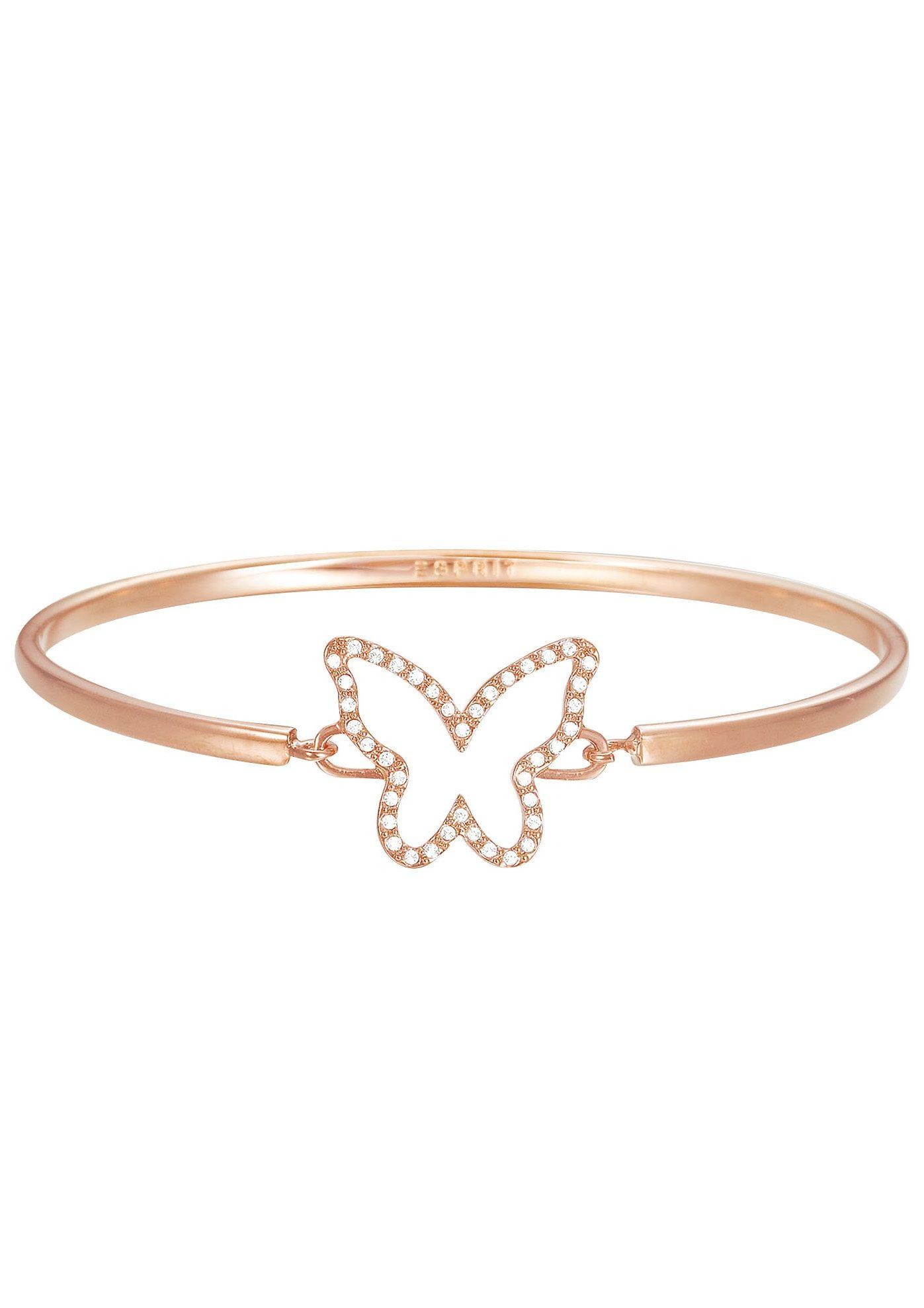 Esprit Armreif mit Strasssteinen, »Schmetterling, ESPRIT-JW50219 Rose, ESBA01179C600«