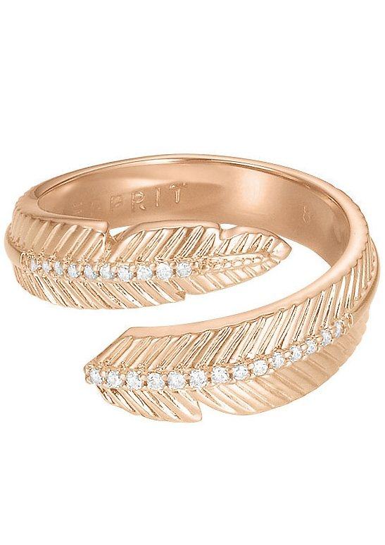 Esprit Ring mit Zirkonia, »Feder, ESPRIT-JW50222 Rose, ESRG02618C« in roségoldfarben