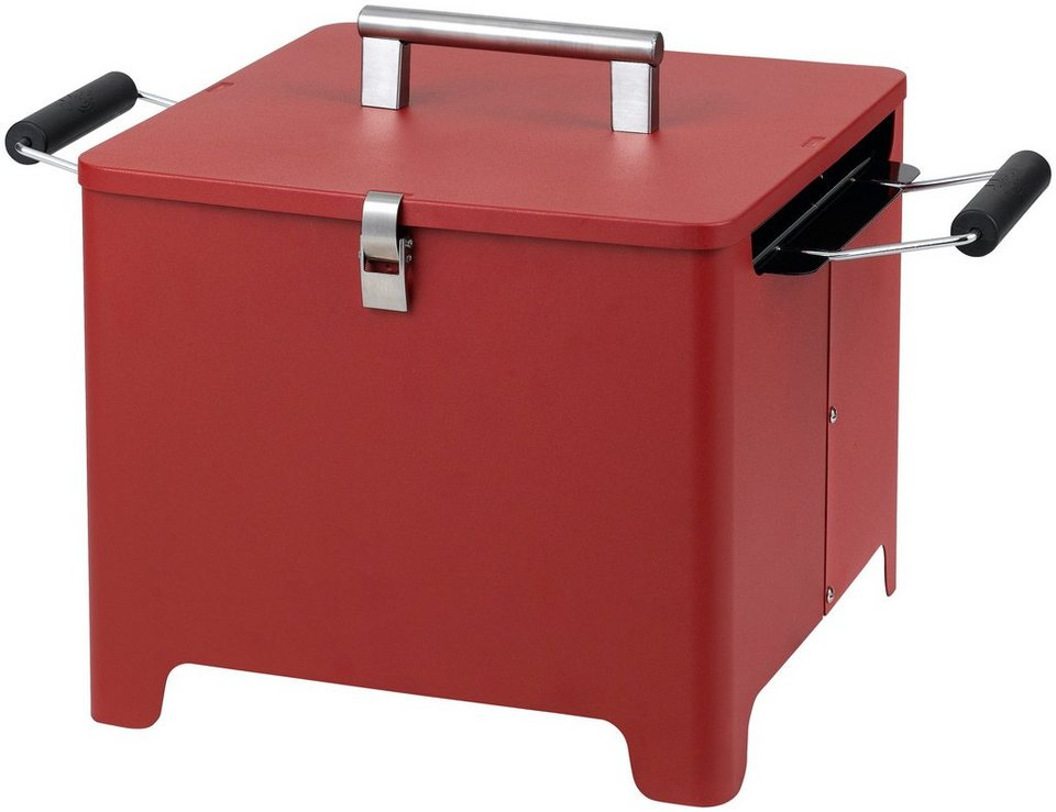 Holzkohlegrill »Chill&Grill Cube«, rot in rot