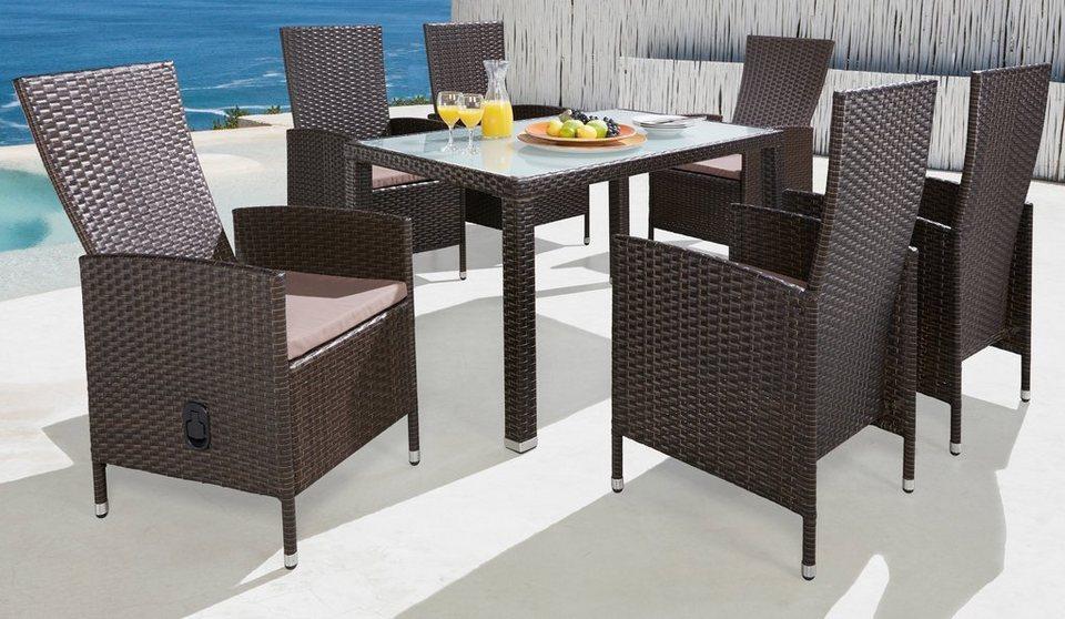 13-tgl. Gartenmöbelset »Ibiza«, 6 Sessel, Tisch 140x80 cm, Polyrattan, braun in braun