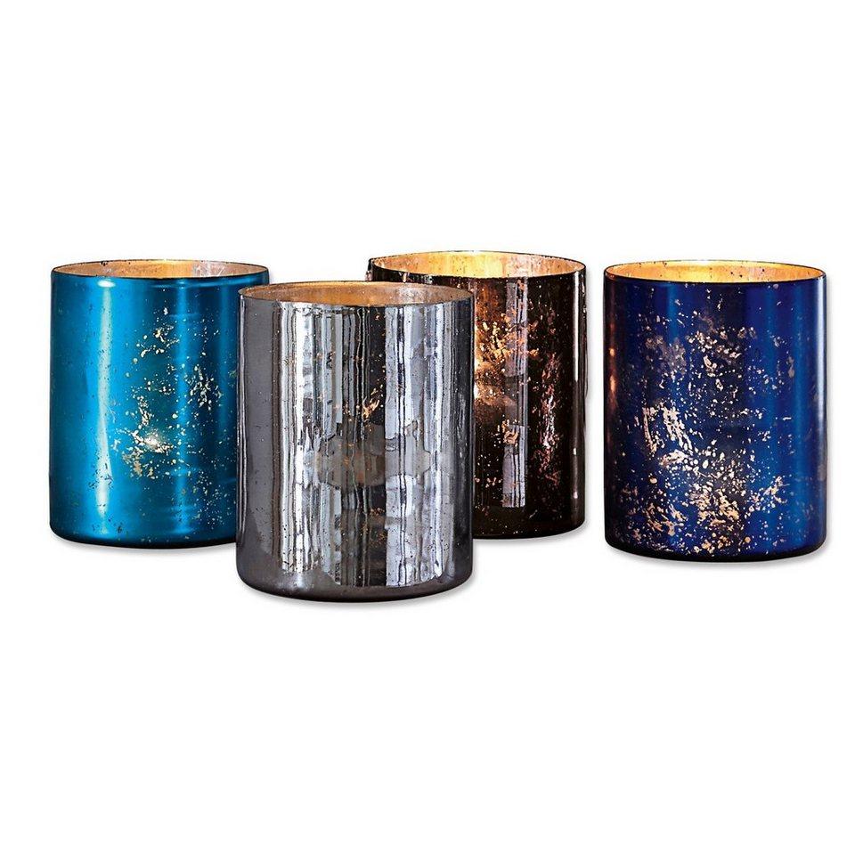 Loberon Windlicht 4er-Packung »Liliette« in blau/silber