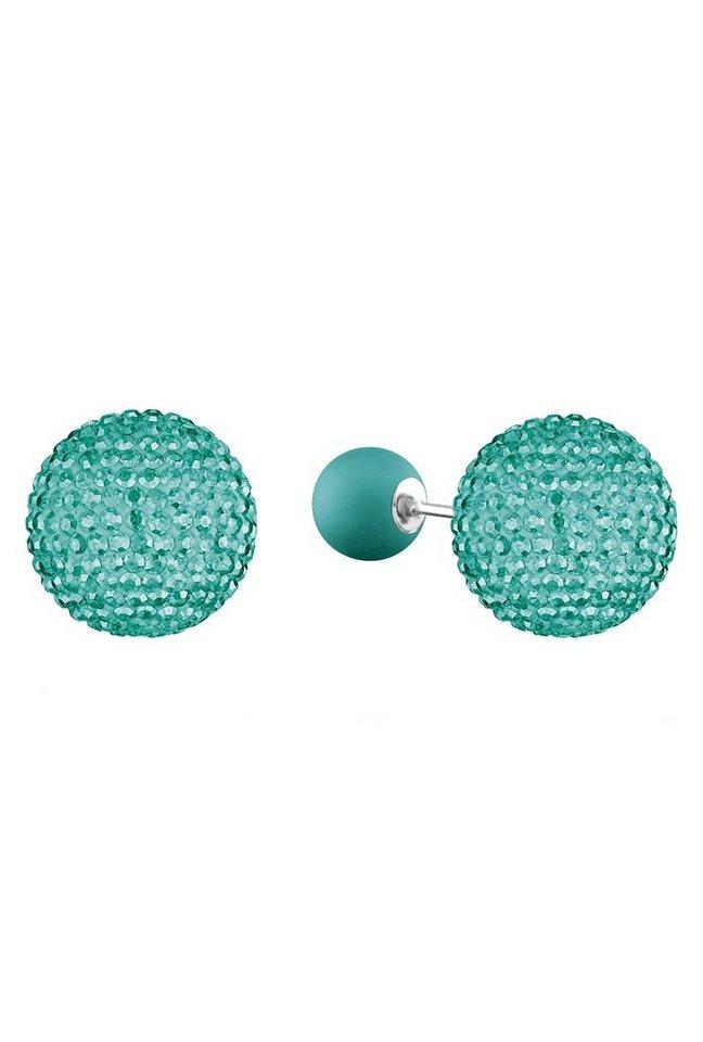NAHU Paar Ohrstecker Doubleface mit Preciosa Crystal, »Sirius, NAE-SIRIUS-07« in Silber 925/türkis