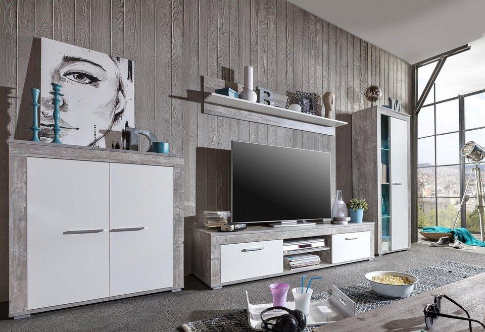 Wohnwand holz weiß  Wohnwand (4-tlg.) online kaufen | OTTO