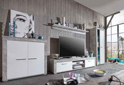 Wohnwand holz weiß  Massivholz Wohnwand kaufen » Holz & Holzoptik | OTTO