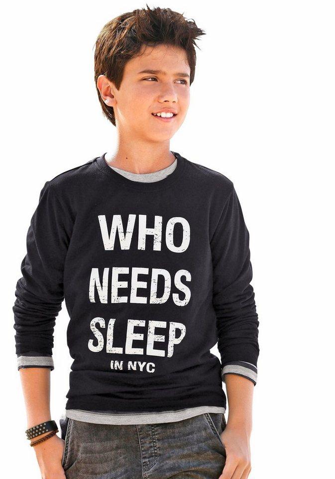 """Arizona Langarmshirt """"WHO NEEDS SLEEP"""" in schwarz"""
