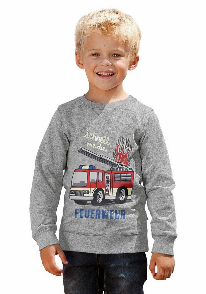 """CFL Sweatshirt """"schnell, wie die FEUERWEHR"""" in grau-meliert"""