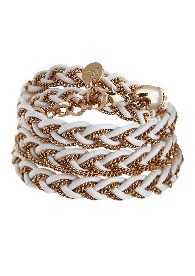 TOV Armband zum Wickeln, »B-long braid cord & chain, 475.009.004« in roségoldfarben/weiß