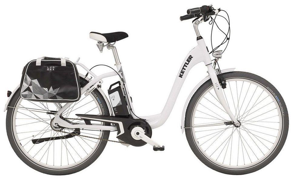 Kettler -City-Bike, Damen, 28 Zoll, 8 Gang Shimano, Freilauf, inkl. Tasche, »Layana E« in white, glossy