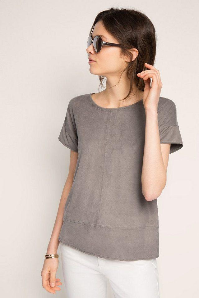 ESPRIT CASUAL Velours Fashion Shirt in GUNMETAL