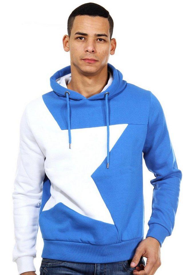 R-NEAL Kapuzensweater regular fit in blau/weiss
