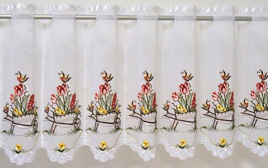 Scheibengardine »Schubkarre«, Stickereien Plauen, Durchzuglöcher (1 Stück), veredelt mit echter Plauener Spitze Stickerei