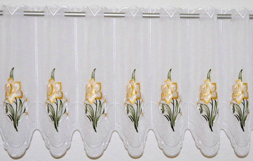 Scheibengardine, »Narzisse«, mit Durchzuglöchern, veredelt mit echter Plauener Spitze Stickerei (1 Stück), Panneaux in weiß