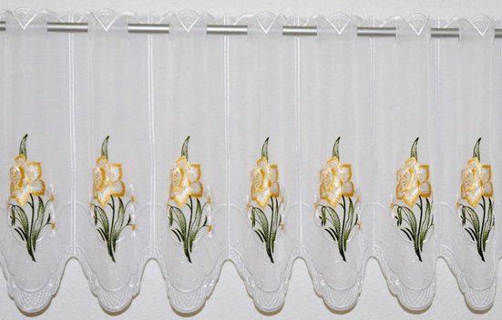 Scheibengardine »Narzisse«, Stickereien Plauen, Durchzuglöcher (1 Stück), veredelt mit echter Plauener Spitze Stickerei