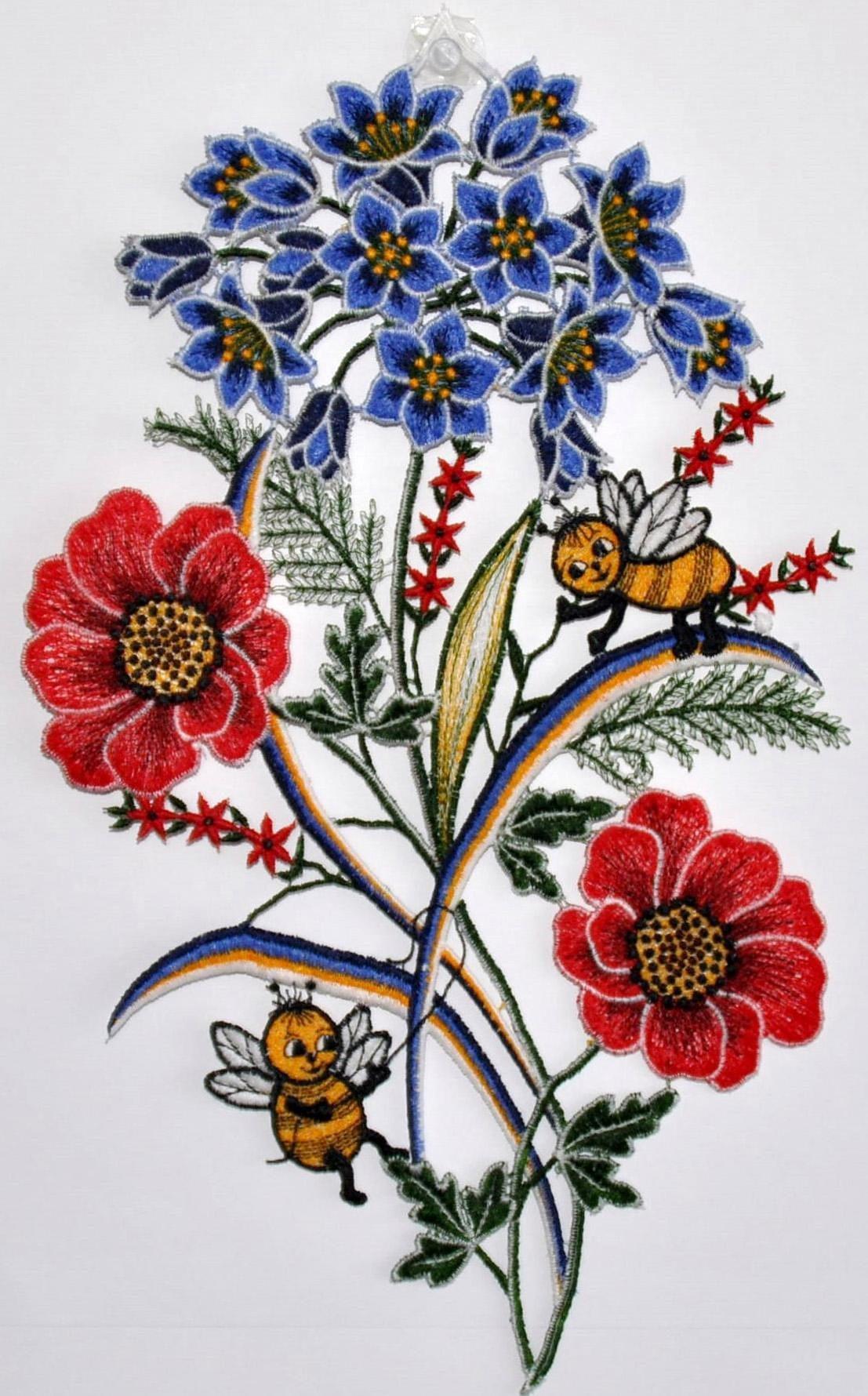 Fensterbild, »Fensterbild Blumen«, Echte Plauener Spitze
