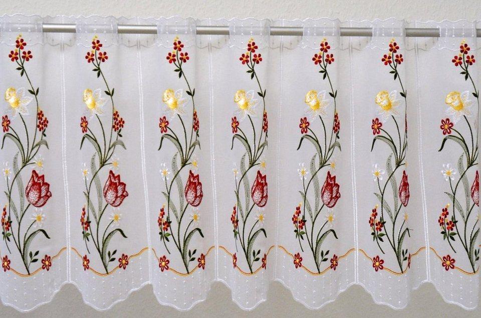 Scheibengardine, »Tulpe«, mit Durchzuglöchern, veredelt mit echter Plauener Spitze Stickerei (1 Stück), Panneaux in weiß