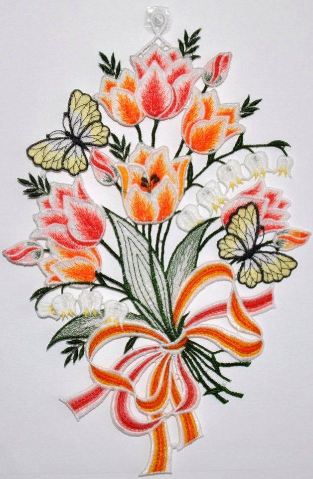 Fensterbild, »Fensterbild Blüten«, Echte Plauener Spitze in bunt
