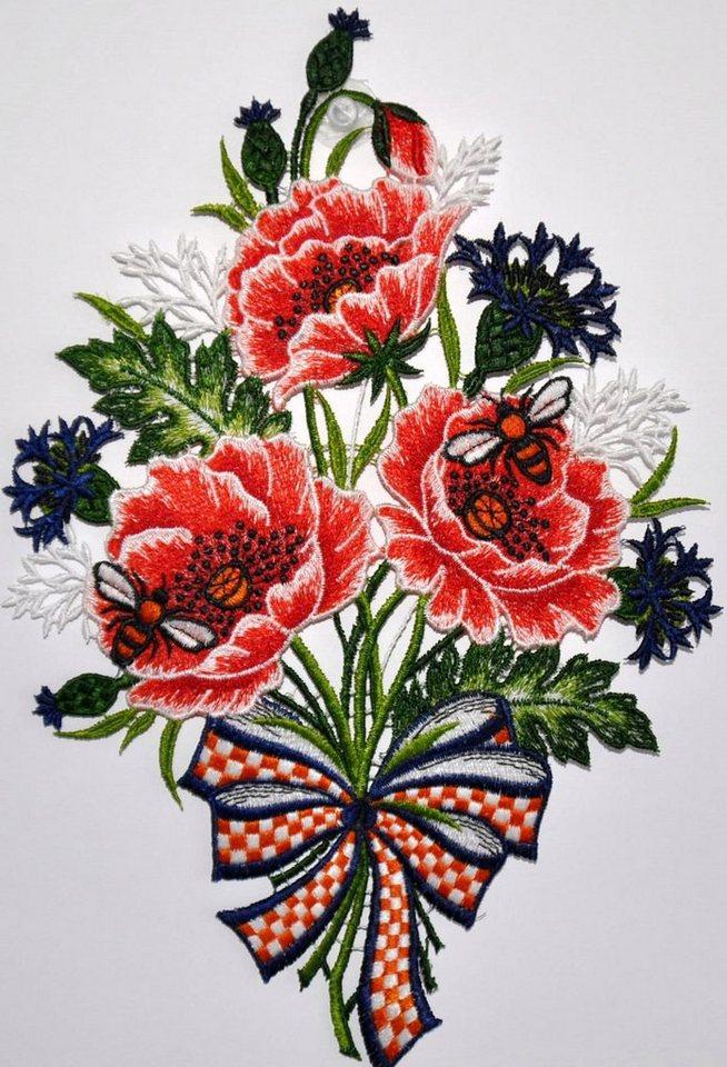 Fensterbild, »Fensterbild Blumenstrauß«, Echte Plauener Spitze in bunt