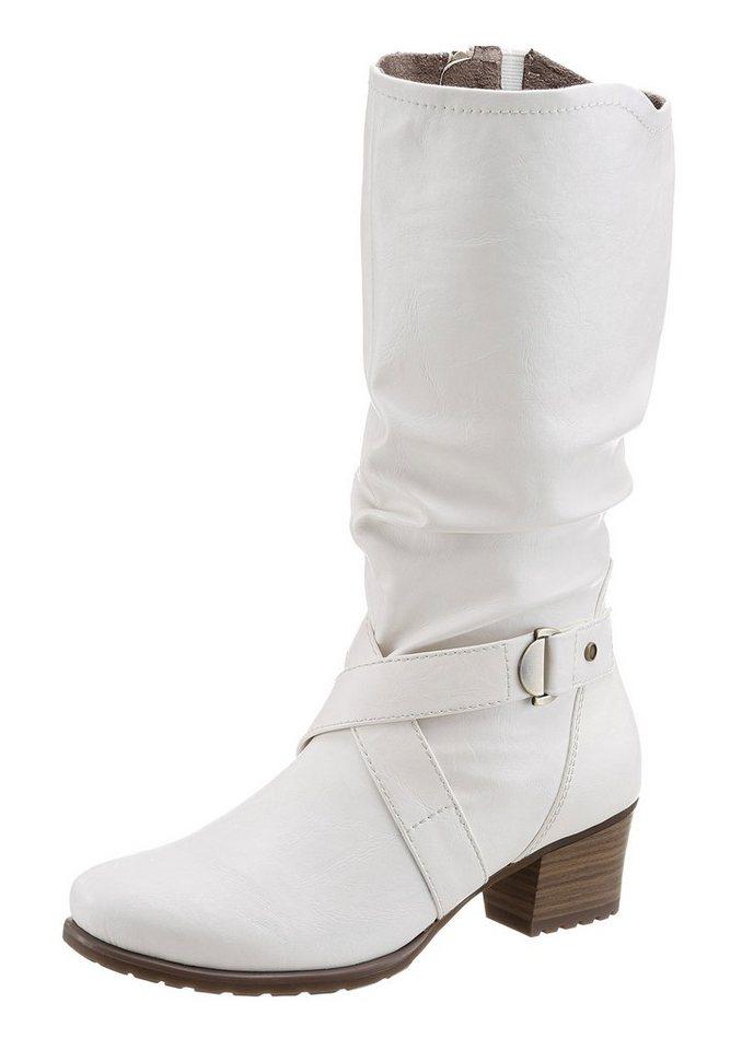 Tamaris Stiefel mit Raffungen in weiß