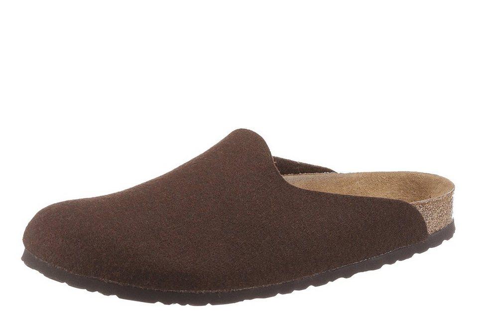 Birkenstock »AMSTERDAM« Pantoffel mit ergonomisch geformten Fußbett in dunkelbraun