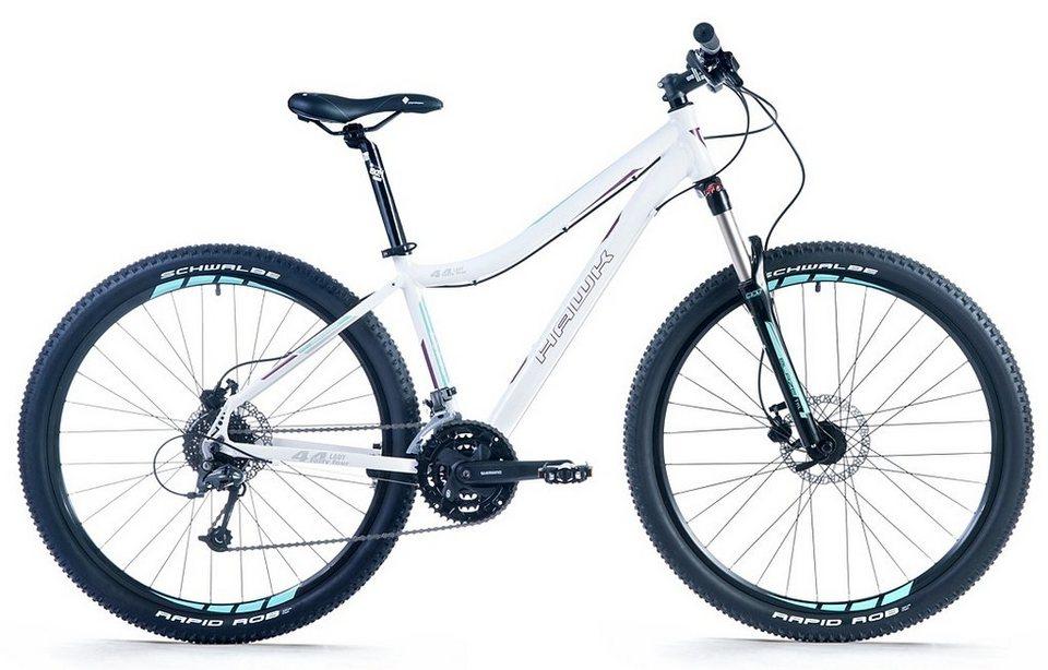 Hawk Damen Mountainbike, 27,5 Zoll, 27 Gang Shimano Kettenschaltung, »Fourtyfour« in weiß