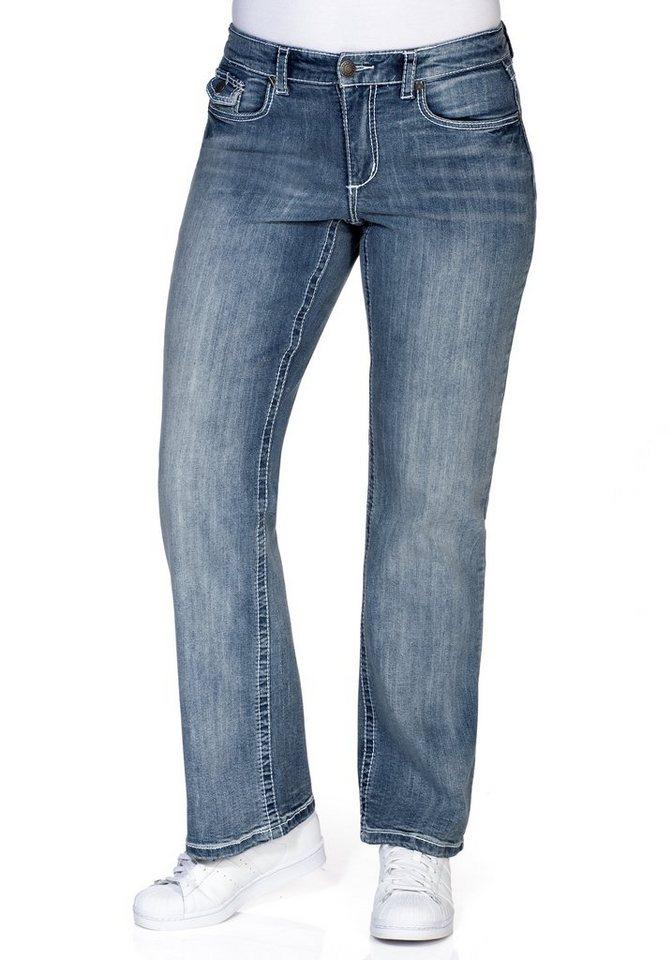 sheego Denim Weite Stretch-Jeans mit Kontrastnähten in light blue Denim