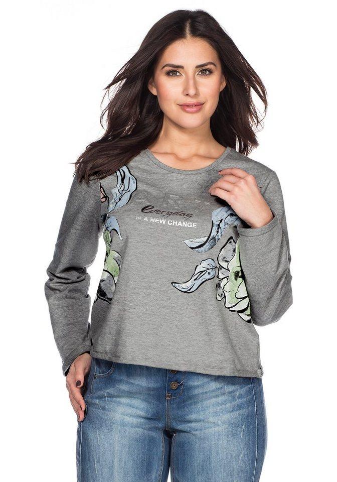 sheego Trend Sweatshirt in grau meliert