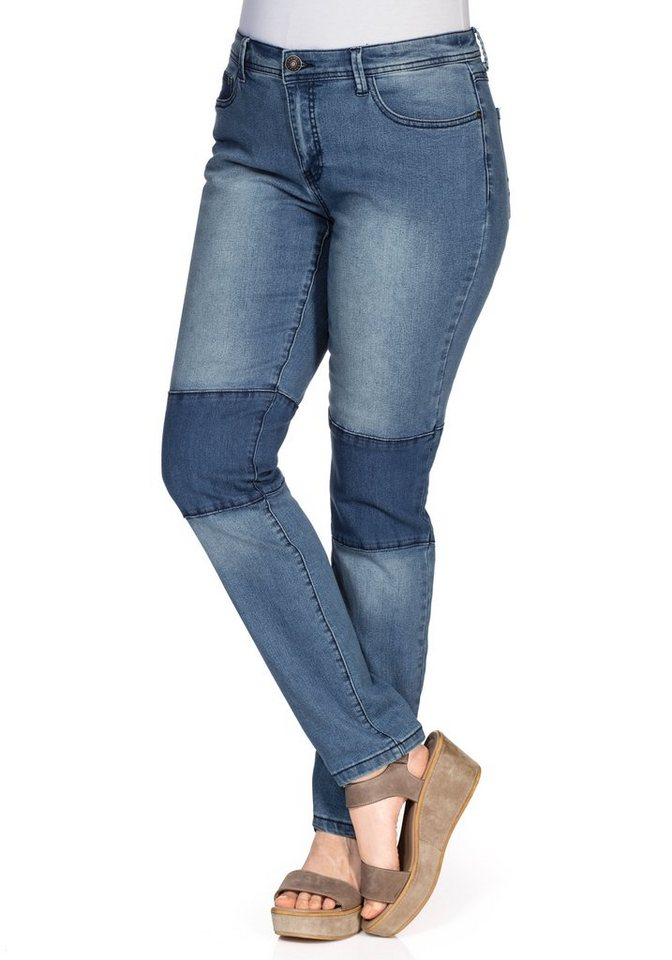 sheego Denim Schmale Stretch-Jeans in blue Denim