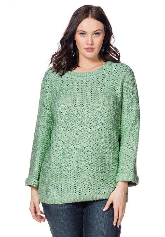 sheego Casual Pullover in apfelgrün