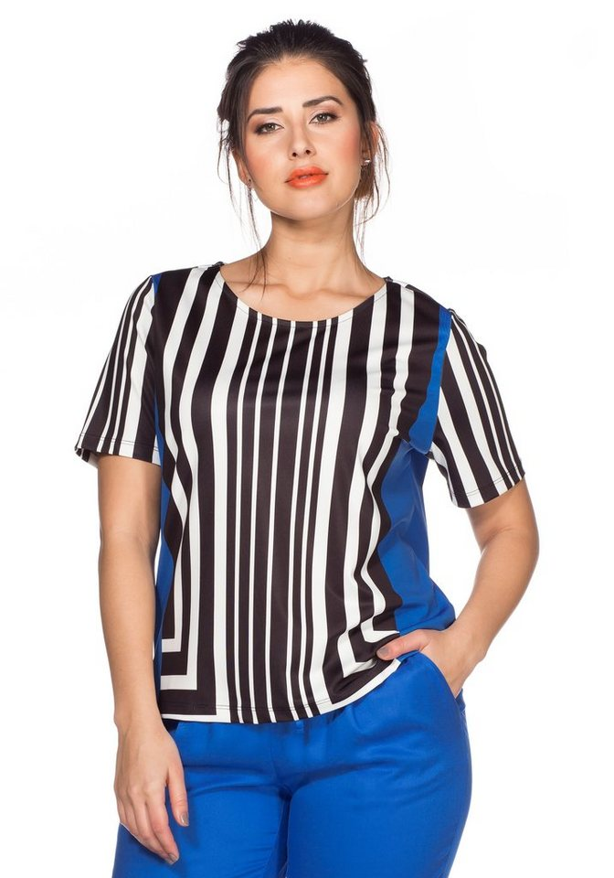 sheego Trend Shirt in weiß-ozeanblau