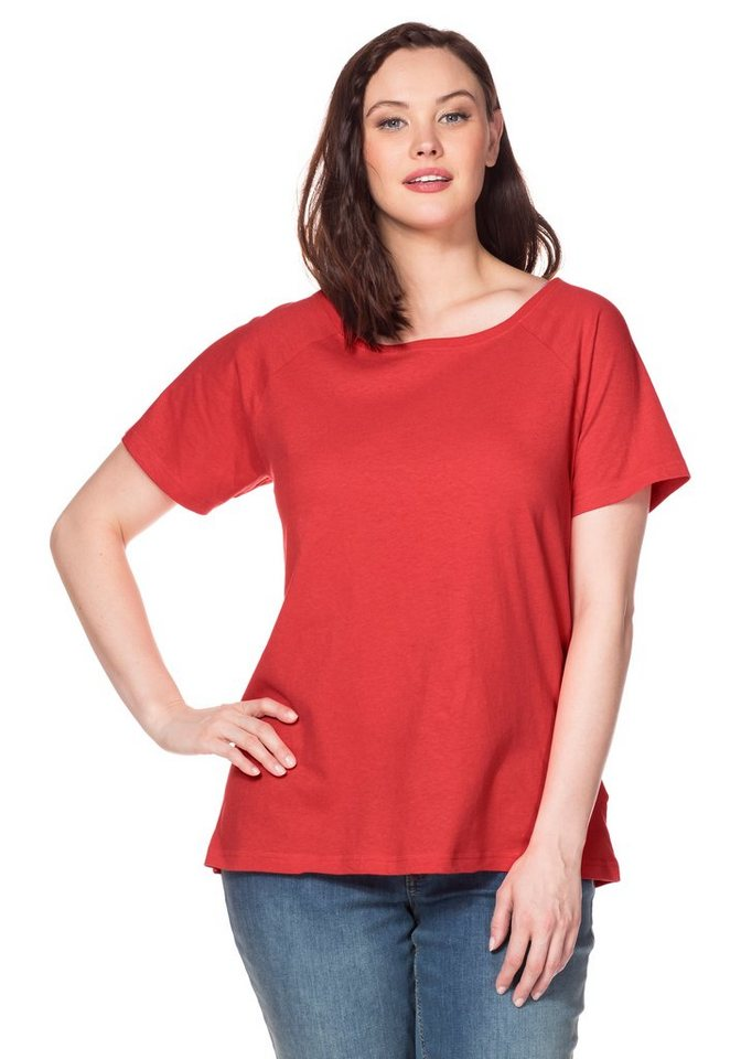 sheego Casual T-Shirt in korallrot