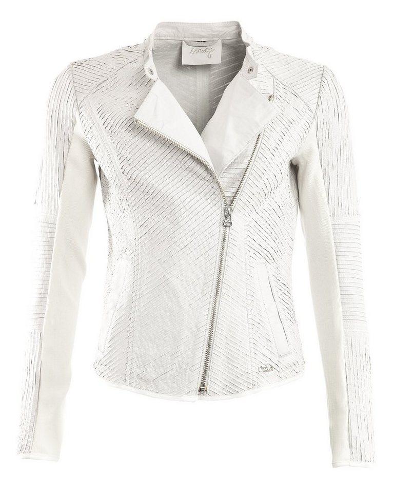 MAZE Biker-Lederjacke, Damen Esmeraldes in weiß